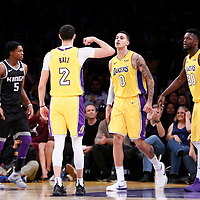 09 January 2018: Los Angeles Lakers guard Lonzo Ball (2) celebrates with Los Angeles Lakers forward Kyle Kuzma (0) and Los Angeles Lakers forward Julius Randle (30) during the LA Lakers 99-86 victory over the Sacramento Kings, at the Staples Center, Los Angeles, California, USA.