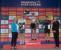LONDON UK 30TH JULY 2016:   Classique Cyclist Spinters Presentation Ceremony Lucinda Brand RaboLiv Womens Cycling Team Sarah Roy Orica AIS Alexis Ryan Canyon SRAM Racing. The Prudential RideLondon Classique elite womens' race. Prudential RideLondon in London 30th July 2016<br /> <br /> Photo: Jon Buckle/Silverhub for Prudential RideLondon<br /> <br /> Prudential RideLondon is the world's greatest festival of cycling, involving 95,000+ cyclists – from Olympic champions to a free family fun ride - riding in events over closed roads in London and Surrey over the weekend of 29th to 31st July 2016. <br /> <br /> See www.PrudentialRideLondon.co.uk for more.<br /> <br /> For further information: media@londonmarathonevents.co.uk