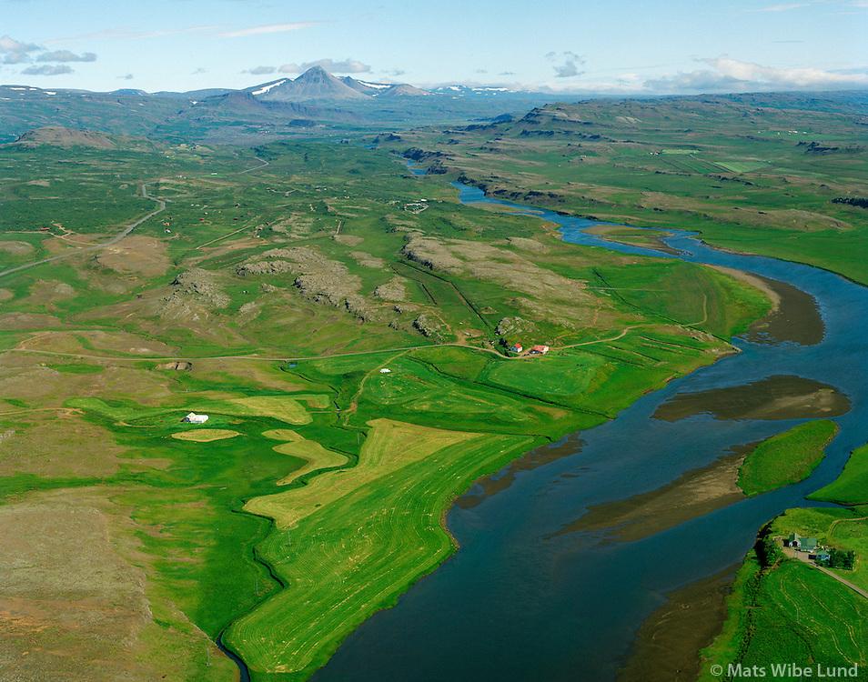 Munaðarnes og Norðurá séð til norðurs, Borgarbyggð áður Stafholtstungnahreppur / Munadarnes and river Nordura viewing north. Borgarbyggd former Stafholtstungnahreppur.