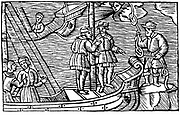 Sailors buying winds (tied in knots) from a magician. From Olaus Magnus 'Historia de gentibus septentrionalibus' Antwerp 1562.