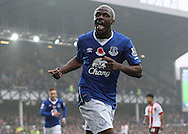 Arouna Kone of Everton celebrates scoring the fifth goal against Sunderland during the Barclays Premier League match at Goodison Park, Liverpool.<br /> Picture by Michael Sedgwick/Focus Images Ltd +44 7900 363072<br /> 01/11/2015