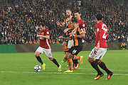 Manchester United player Juan Mata (8) heads up field under attack from Hull City midfielder Jake Livermore (14) and Hull City midfielder David Meyler (7) during the Premier League match between Hull City and Manchester United at the KCOM Stadium, Kingston upon Hull, England on 27 August 2016. Photo by Ian Lyall.
