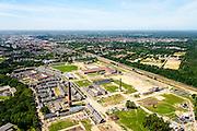 Nederland, Gelderland, Ede, 09-06-2016; gebiedsontwikkeling Enka-terrein, voormalige kunstzijdefabriek van Enka. Op het terrein komt voornamelijk woningbouw, een deel van de industriele monumenten blijft bestaan.<br /> Project development Enka site, former rayon factory, part of the industrial monuments will remain.<br /> <br /> aerial photo (additional fee required);<br /> copyright foto/photo Siebe Swart