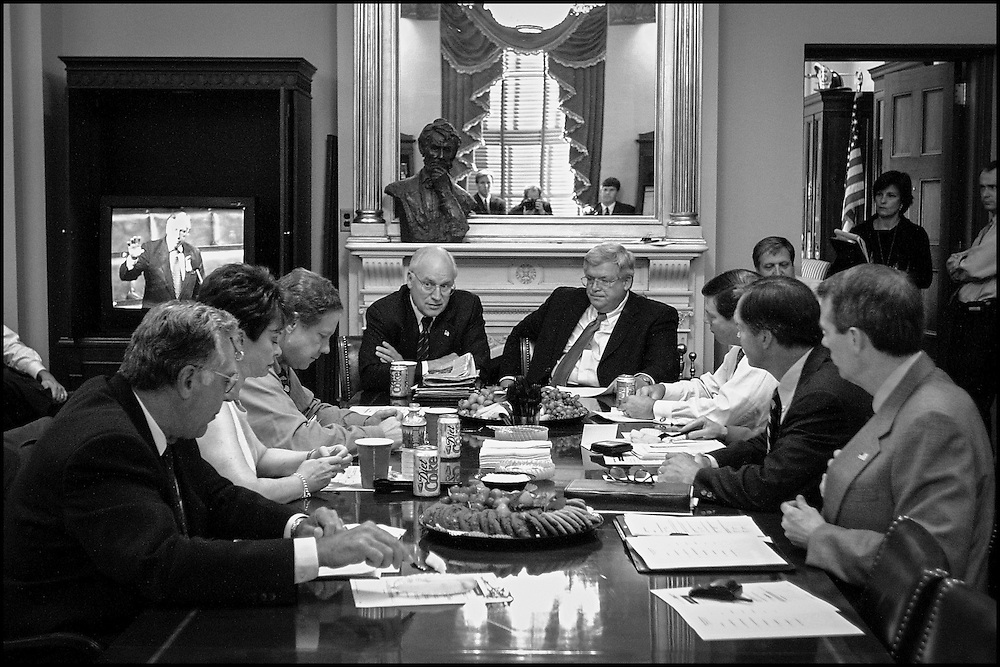 Vice President Dick Cheney in a meeting with Speaker Hastert and Republican House Congressional Leadership.  10/4/01..©PF BENTLEY/PFPIX.com