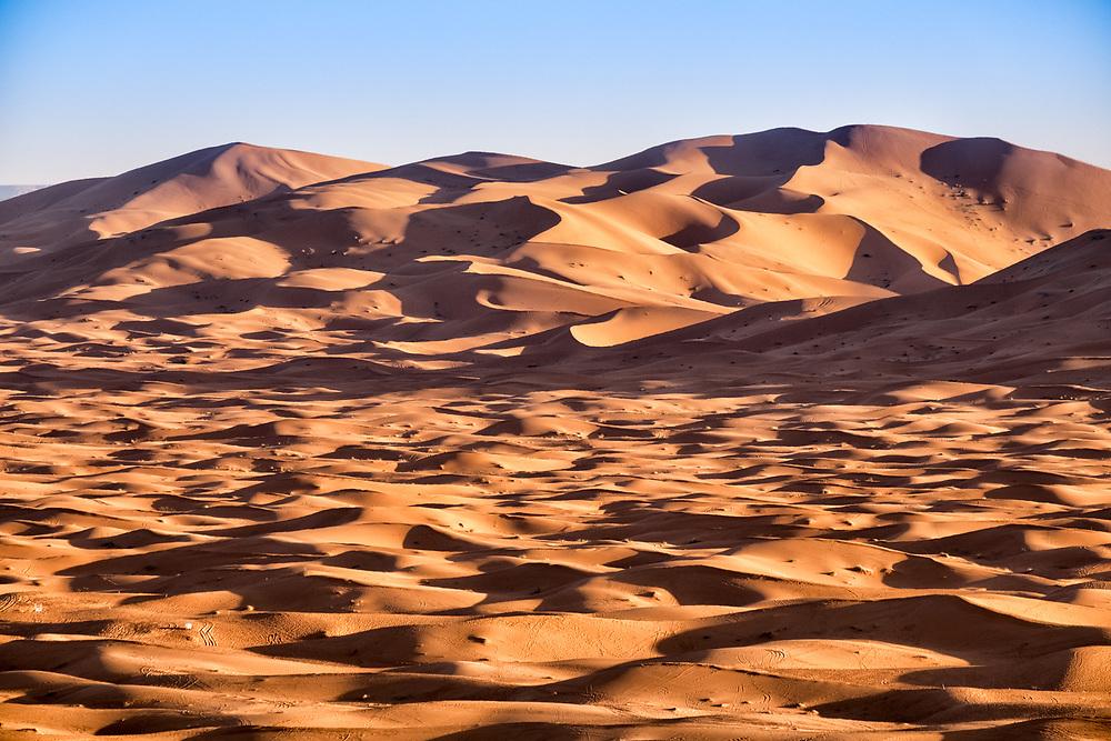 The desert dunes in the Moroccan Sahara at Erg Chebbi