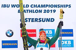 March 10, 2019 - –Stersund, Sweden - 190310 Denise Herrmann of Germany celebrates at the podium after the Women's 10 km Pursuit during the IBU World Championships Biathlon on March 10, 2019 in Östersund..Photo: Petter Arvidson / BILDBYRÃ…N / kod PA / 92254 (Credit Image: © Petter Arvidson/Bildbyran via ZUMA Press)
