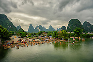 Yulong River with impressive karst formation at the background