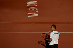 April 8, 2018 - Valencia, Valencia, Spain - Philipp Kohlschreiber of Germany reacts in is match against David Ferrer of Spain during day three of the Davis Cup World Group Quarter Finals match between Spain and Germany at Plaza de Toros de Valencia on April 8, 2018 in Valencia, Spain  (Credit Image: © David Aliaga/NurPhoto via ZUMA Press)
