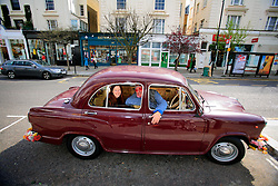 UK ENGLAND LONDON 4APR08 - Tobias Moss, founder of Karma Kars, London's most bohemian boutique car service poses with journalist Elke Michel in one of his four Indian-built Ambassador taxis...jre/Photo by Jiri Rezac..© Jiri Rezac 2008..Contact: +44 (0) 7050 110 417.Mobile:  +44 (0) 7801 337 683.Office:  +44 (0) 20 8968 9635..Email:   jiri@jirirezac.com.Web:    www.jirirezac.com..© All images Jiri Rezac 2008 - All rights reserved.