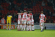 Celebrations as Doncaster midfielder Tommy Rowe scores the winning goal during the EFL Sky Bet League 1 match between Doncaster Rovers and AFC Wimbledon at the Keepmoat Stadium, Doncaster, England on 17 November 2018.