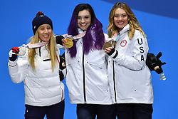 HERNANDEZ Cecile FRA SB-LL1, HUCKABY Brenna USA SB-LL1, PURDY Amy USA SB-LL1,  ParaSnowboard, Snowboard Banked Slalom, Podium at  the PyeongChang2018 Winter Paralympic Games, South Korea.
