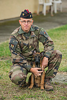 Persee, a 2,5-month-old Malinois, has joined the ranks of the 68th African Artillery Regiment.<br /> He has already received his cap. (and goes with it, by the way)<br /> Integrating a  puppy into a regiment is an experiment. The military dog of the Army is usually bought between one and three years, that is to say as an adult. <br /> Integrated within the cynotechnic element of detection, he will have to train without delay with his dog master to acquire the patent of tracking &quot;initiation&quot; and the certificate of &quot;patrol&quot; on the date of his first birthday.<br /> The goal is to make him acquire the needs of his missions as soon as possible.<br /> Its future missions: defense and security of sensitive facilities, combat support, human research, but also search for explosives or narcotics. He will be able to perform them both in theaters of outdoor operation and in the context of Operation Sentinelle.<br /> This is the beginning of a long adventure for this &quot;soldier dog&quot; assigned to the 68th African Artillery Regiment .<br /> <br /> Pers&eacute;e, un malinois de 2,5 mois vient de rejoindre les rangs du 68e R&eacute;giment d&rsquo;Artillerie d&rsquo;Afrique. <br /> Il a d&eacute;j&agrave; re&ccedil;u son calot (et pars avec, du coup)<br /> Int&eacute;grer un chiot &agrave; un r&eacute;giment est une exp&eacute;rimentation. <br /> Le chien militaire de l&rsquo;arm&eacute;e de Terre est g&eacute;n&eacute;ralement achet&eacute; entre un et trois ans, c&rsquo;est-&agrave;-dire &agrave; l&rsquo;&acirc;ge adulte. <br /> Int&eacute;gr&eacute; au sein de l&rsquo;&eacute;l&eacute;ment cynotechnique de d&eacute;tection, il devra sans tarder s&rsquo;entrainer avec son maitre de chien pour acqu&eacute;rir le brevet de pistage &laquo;&nbsp;initiation&nbsp;&raquo; et le brevet de &laquo;&nbsp;patrouille&nbsp;&raquo; &agrave; la date de son premier anniversaire.<br /> L&rsquo;objectif, &eacute;tant de lui faire acqu&eacute;rir les besoins de ses missions 