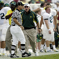 Oregon Ducks football team in Oklahoma for game against against the Sooners..Duck Head Coach is fired up about a intentional grounding call.Photos © Todd Bigelow/Aurora