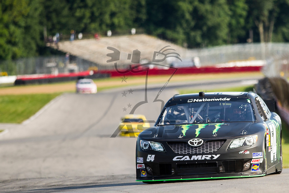"""Lexington, OH - AUG 15, 2013: The NASCAR Nationwide Series teams take to the track during practice for the Nationwide Children's Hosp. 200 at the Mid-Ohio Sports Car Course in Lexington, OH, Kelly, 54, """"Monster Energy"""", Monster, Toyota, KBR,"""