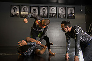 June 7, 2017 / Yorba Linda, Calif.<br /> <br /> Aaron Pico, 20, top, works on a finishing move with partner Carlos Guyton, 19, while coach Eddie Bravo, right, trains Pico in Brazilian Jiu Jitsu at 10th Planet Gym in Los Angeles. (Melissa Lyttle for ESPN)
