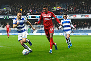 Marvin Johnson (21) of Middlesbrough on the attack during the EFL Sky Bet Championship match between Queens Park Rangers and Middlesbrough at the Kiyan Prince Foundation Stadium, London, England on 9 November 2019.