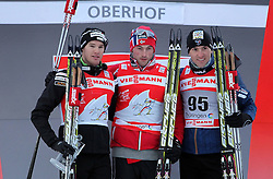 29.12.2011, DKB-Ski-ARENA, Oberhof, GER, Viessmann FIS Tour de Ski 2011, Prolog, Freie Technik/ Freistil Herren im Bild Siegerehrung Dario Cologna (SUI) auf Platz 2, Petter Northug (NOR) auf Platz 1 und Maurice Manificat (FRA) auf Platz 3 . // during of Viessmann FIS Tour de Ski 2011, in Oberhof, GERMANY, 2011/12/29 .. EXPA Pictures © 2011, PhotoCredit: EXPA/ nph/ Hessland..***** ATTENTION - OUT OF GER, CRO *****