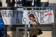 Happy Birthday banner for keeper Rab Douglas (he was 39 on Sunday 24th April) - Ross County v Dundee - IRN BRU Scottish Football League First Division at Victoria Park<br /> <br /> <br /> <br /> http://www.davidyoungphoto.co.uk