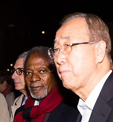 "London, October 23 2017. Nelson Mandela's group of Elders including former UN Secretary General Kofi Annan and Secretary General Ban Ki-moon accompanied by his widow Graca Machel gather at Parliament Square at the start of the Walk Together event in memory of Nelson Mandela before a candlelight vigil at his statue in Parliament Square. ""WalkTogether is a global campaign to inspire hope and compassion, celebrating communities working for the freedoms that unite us"". PICTURED: Lakhdar Brahimi (L) Kofi Annan, Ban Ki-moon. © Paul Davey"
