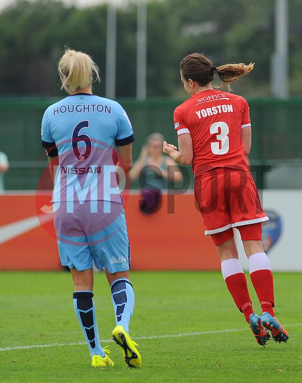 Bristol Academy Womens' Corinne Yorston celebrates her first goal. - Photo mandatory by-line: Nizaam Jones- Mobile: 07583 387221 - 28/09/2014 - SPORT - Women's Football - Bristol - SGS Wise Campus - BAWFC v Man City Ladies - sport