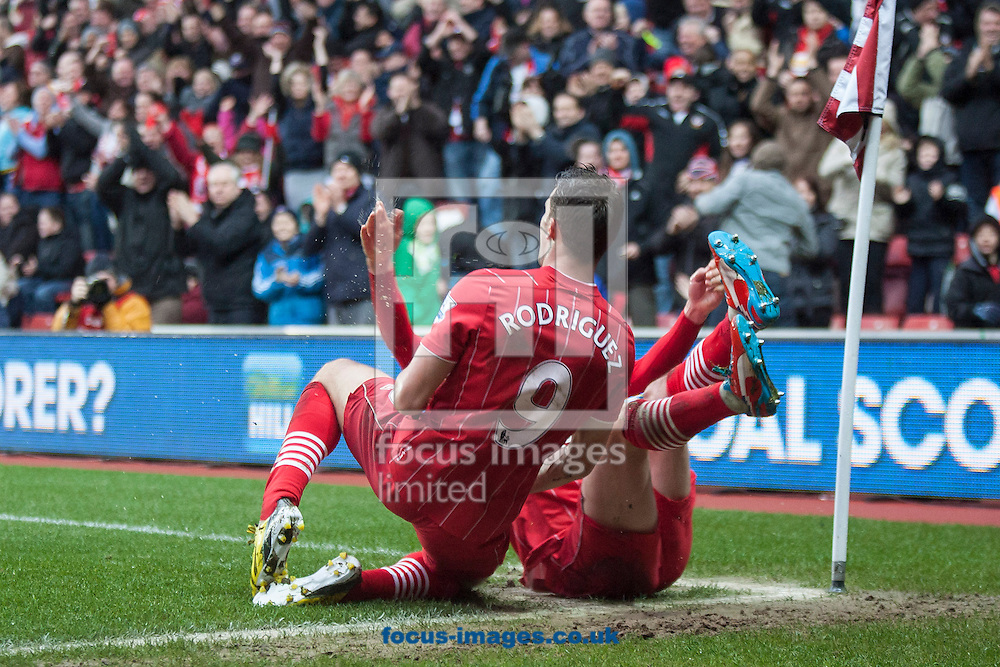 Picture by Daniel Chesterton/Focus Images Ltd +44 7966 018899.16/03/2013.Jay Rodriguez of Southampton celebrates scoring his side's third goal with Adam Lallana of Southampton during the Barclays Premier League match at the St Mary's Stadium, Southampton.