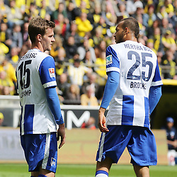 09.05.2015, Signal Iduna Park, Dortmund, GER, 1. FBL, Borussia Dortmund vs Hertha BSC, 32. Runde, im Bild Sebastian Langkamp (Hertha BSC Berlin #15) im Gespraech mitJohn Anthony Brooks (Hertha BSC Berlin #25) // during the German Bundesliga 32th round match between Borussia Dortmund and Hertha BSC at the Signal Iduna Park in Dortmund, Germany on 2015/05/09. EXPA Pictures &copy; 2015, PhotoCredit: EXPA/ Eibner-Pressefoto/ Sch&uuml;ler<br /> <br /> *****ATTENTION - OUT of GER*****