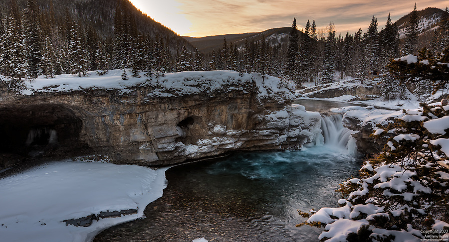 Elbow Falls Sunset in the winter.  .5X3 (HDR) photograph stitch.