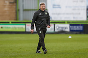 Forest Green Rovers assistant manager, Scott Lindsey during the The FA Cup match between Forest Green Rovers and Exeter City at the New Lawn, Forest Green, United Kingdom on 2 December 2017. Photo by Shane Healey.