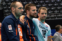 11-08-2019 NED: FIVB Tokyo Volleyball Qualification 2019 / Netherlands - USA, Rotterdam<br /> Final match pool B in hall Ahoy between Netherlands vs. United States (1-3) and Olympic ticket  for USA / Wouter Ter Maat #16 of Netherlands, Ewoud Gommans #9 of Netherlands, Robbert Andringa #18 of Netherlands