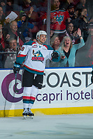 KELOWNA, CANADA - MARCH 3: Carsen Twarynski #18 of the Kelowna Rockets celebrates his 40th goal of the season during second period against the Spokane Chiefs  on March 3, 2018 at Prospera Place in Kelowna, British Columbia, Canada.  (Photo by Marissa Baecker/Shoot the Breeze)  *** Local Caption ***