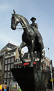 Statue of Queen Wilhelmina of Holland, in Amsterdam, Holland