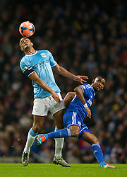 15.02.2014, Etihad Stadion, Manchester, ESP, FA Cup, Manchester City vs FC Chelsea, Achtelfinale, im Bild Manchester City's Vincent Kompany, action against Chelsea's Samuel Eto'o // during the English FA Cup Round of last 16 Match between Manchester City and FC Chelsea at the Etihad Stadion in Manchester, Great Britain on 2014/02/15. EXPA Pictures © 2014, PhotoCredit: EXPA/ Propagandaphoto/ David Rawcliffe<br /> <br /> *****ATTENTION - OUT of ENG, GBR*****