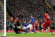 Everton defender Michael Keane (5) scores a goal 2-1  during the Premier League match between Liverpool and Everton at Anfield, Liverpool, England on 4 December 2019.