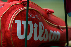 LONDON, ENGLAND - Saturday, July 6, 2019: LONDON, ENGLAND - Saturday, July 6, 2019: Serena Williams' Wilson bag during the Ladies' Singles third round match on Day Six of The Championships Wimbledon 2019 at the All England Lawn Tennis and Croquet Club. Williams won 6-3, 6-4. (Pic by Kirsten Holst/Propaganda) during the Ladies' Singles third round match on Day Six of The Championships Wimbledon 2019 at the All England Lawn Tennis and Croquet Club. Williams won 6-3, 6-4. (Pic by Kirsten Holst/Propaganda)