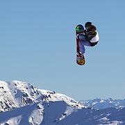 Shelly Gotlieb, New Zealand, in action during the Snowboard Slopestyle Ladies competition at Snow Park, New Zealand during the Winter Games. Wanaka, New Zealand, 21st August 2011. Photo Tim Clayton