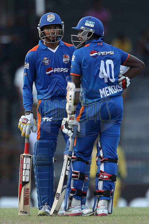 Suraj Randiv and Ajantha Mendis in the last over during match 19 of the Sri Lankan Premier League between  Uthura Rudras and Nagenahiras held at the Premadasa Stadium in Colombo, Sri Lanka on the 26th August 2012. .Photo by Ron Gaunt/SPORTZPICS/SLPL