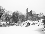 Belvedere Castle in Central Park during a blizzard.