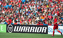 TORONTO, CANADA - Saturday, July 21, 2012: Liverpool's new kit manufacturer Warrior during the first match of the North American pre-season tour at the Rogers Centre. (Pic by David Rawcliffe/Propaganda)