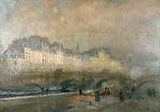 L'ecluse de la monnaie in winter sunshine', Paris. Charles Albert Lebourg (1849-1828) French landscape painter.Barges on the River Seine and  arched bridge .