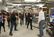 Vice President Joe Biden greets Iowa State student Tom Naert as he takes a tour of the Make to Innovate lab at Iowa State University in Ames, Iowa on Thursday, March 1, 2012.