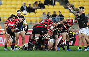 Ereatara Enari of Canterbury box kicks during the Mitre 10 Cup rugby match between the Wellington Lions & Canterbury at Westpac Stadium, Wellington. Friday 23rd August 2019. Copyright Photo: Grant Down / www.Photosport.nz