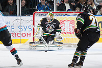 KELOWNA, CANADA - JANUARY 26: Andy Desautels #33 of the Prince Albert Raiders stops a shot at the Kelowna Rockets on January 26, 2013 at Prospera Place in Kelowna, British Columbia, Canada (Photo by Marissa Baecker/Shoot the Breeze) *** Local Caption ***