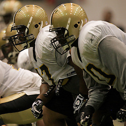 10 August 2009: New Orleans Saints guard Carl Nicks (77) and offensive tackle Jammal Brown (70) line up for a play during New Orleans Saints training camp at the team's indoor practice facility in Metairie, Louisiana.
