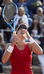 April 21, 2018 - La Manga, Murcia, Spain - Garbine Muguruza of Spain celebrates the victory in her match against Montserrat Gonzalez of Paraguay during day one of the Fedcup World Group II Play-offs match between Spain and Paraguay at Centro de Tenis La Manga Club on April 21, 2018 in La Manga, Spain  (Credit Image: © David Aliaga/NurPhoto via ZUMA Press)