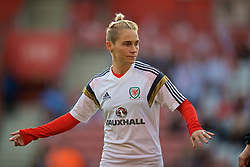 SOUTHAMPTON, ENGLAND - Friday, April 6, 2018: Wales' Jessica Fishlock during the pre-match warm-up before the FIFA Women's World Cup 2019 Qualifying Round Group 1 match between England and Wales at St. Mary's Stadium. (Pic by David Rawcliffe/Propaganda)
