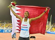 Mutaz Essa-Barshim (QAT) poses with Qatar flag after winning the high jump at 7-10 1/4 (2.40m) in the 2018 IAAF Doha Diamond League meeting at Suhaim Bin Hamad Stadium in Doha, Qatar, Friday, May 4, 2018. (Jiro Mochizuki/Image of Sport)