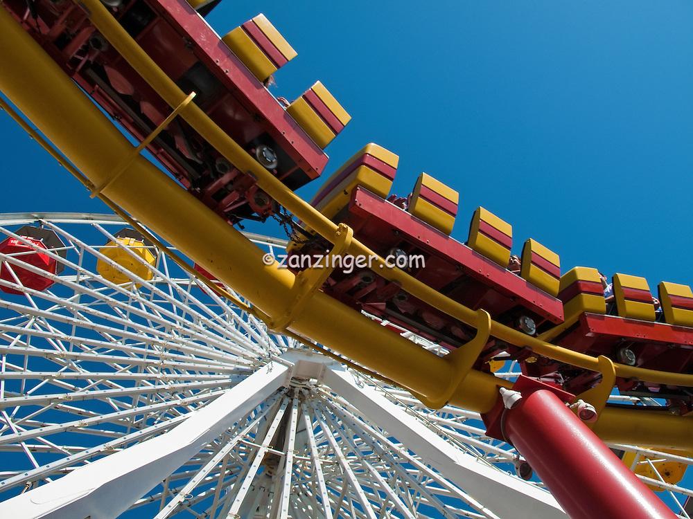 Pacific Park Pier, Over the Ocean Wooden Pier, Santa Monica, Beautiful family, amusement park, large, New, Pacific Ferris wheel, Roller Coaster, moving, over the, ocean, Unique, Fun