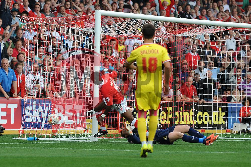 Bristol City's Kieran Agard scores a goal. - Photo mandatory by-line: Dougie Allward/JMP - Mobile: 07966 386802 - 27/09/2014 - SPORT - Football - Bristol - Ashton Gate - Bristol City v MK Dons - Sky Bet League One