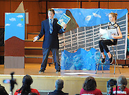 SODYSSEY28P<br /> Aiden Ordover, left, and Gabi Warner of New Hope Middle School perform their answer to Aesop Gone Viral during the Southeast Pennsylvania Odyssey of the Mind tournament Saturday February 27, 2016 at Pennsbury High School West in Fairless Hills, Pennsylvania. (William Thomas Cain/For The Inquirer)