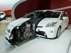 Toyota Prius Hybrid cut-away exhibit showing engine at the Dubai Motor Show 2013 United Arab Emirates